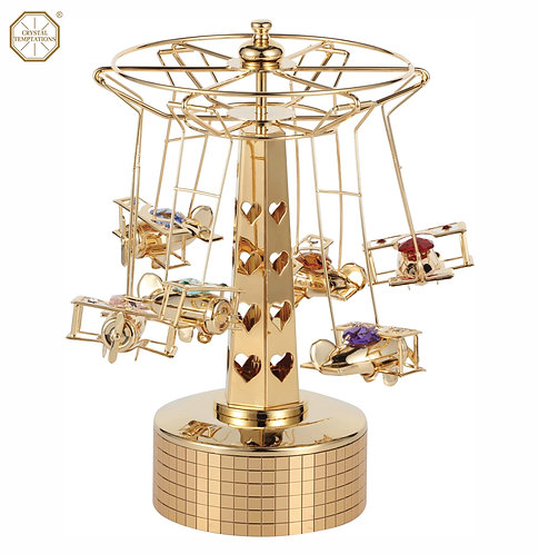 24K Gold plated Aeroplanes music box with Swarovski crystals