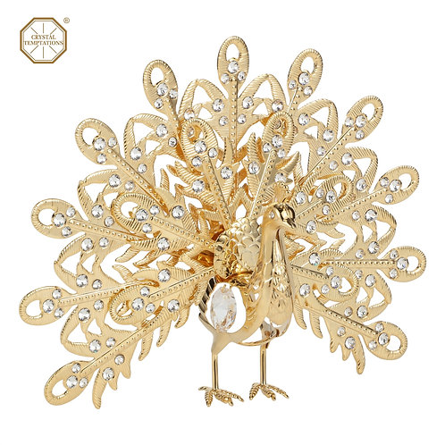24K Gold plated iron table decoration (Peacock) with Swarovski crystals