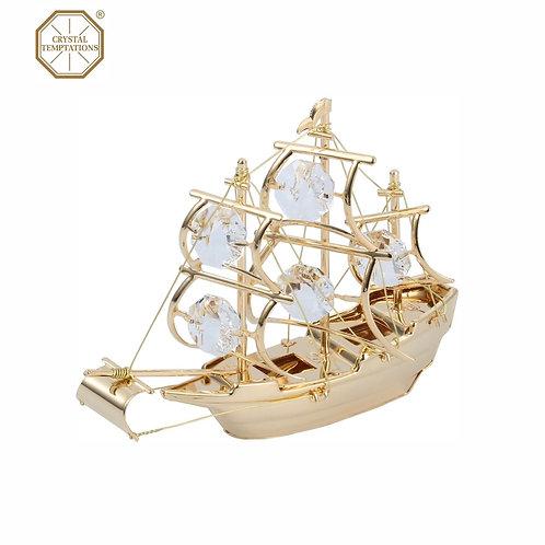 24K Gold Plated Sailboat decoration with Swarovski Crystal