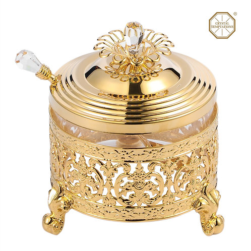 24K Gold plated iron sweet bowl (Round glass holder) with Swarovski crystals