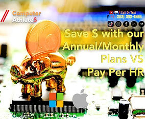 Computer Athletes Gold piggy, indicating the customer saves more with a monthly plan versus hourly