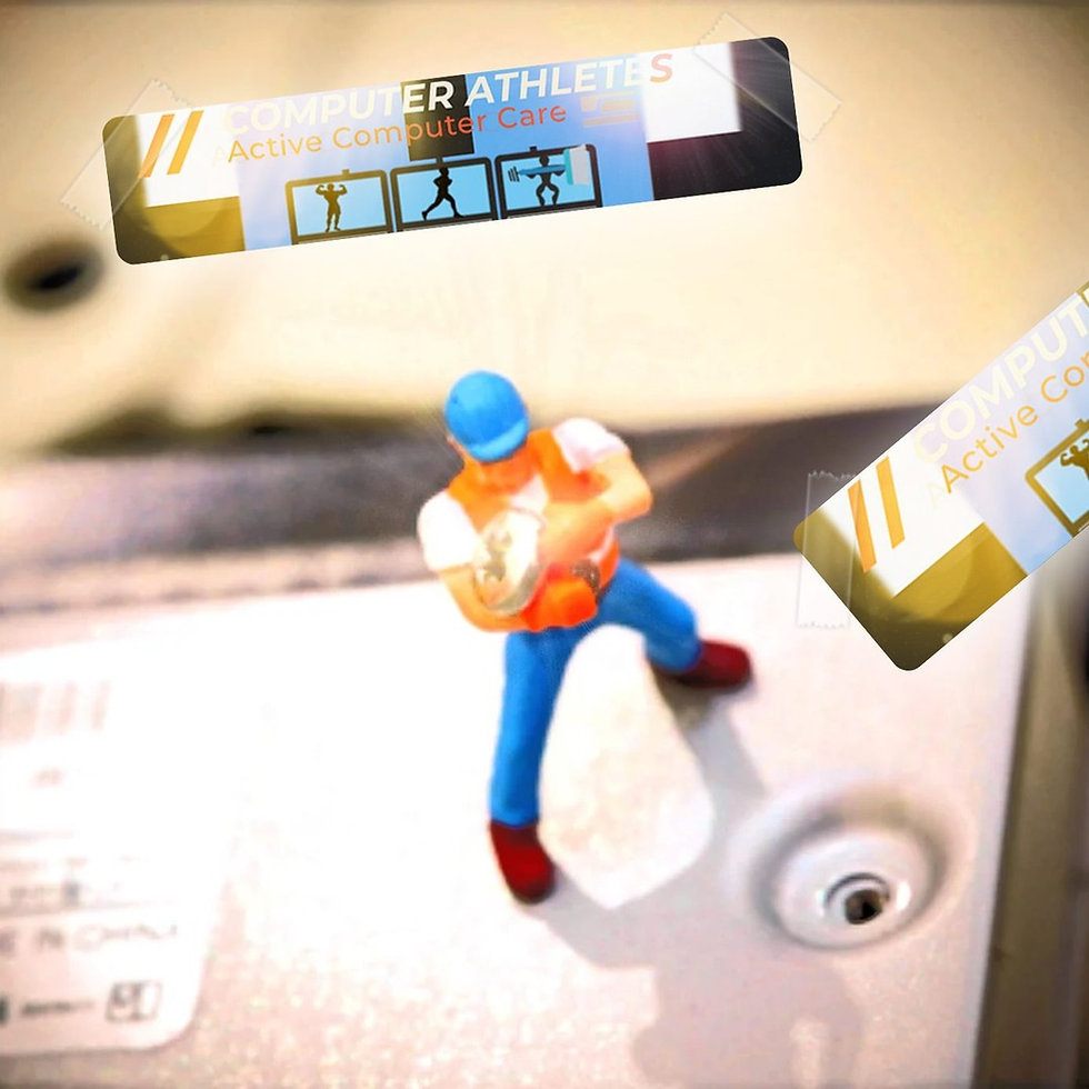 Figurine Doll Utility worker (hard-hat) holding  a laptop screw