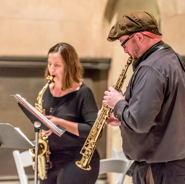 Prestalgia Duo: Jennifer Grantham and Kevin Norton, saxophones.