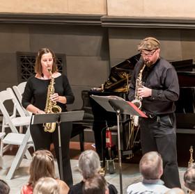 Prestalgia Duo: Jennifer Grantham and Kevin Norton, saxophones.