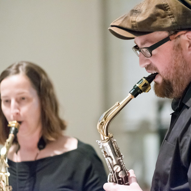 Prestalgia Duo played the opening fanfare: Kevin Norton, saxophone and Jennifer Grantham, saxophone.