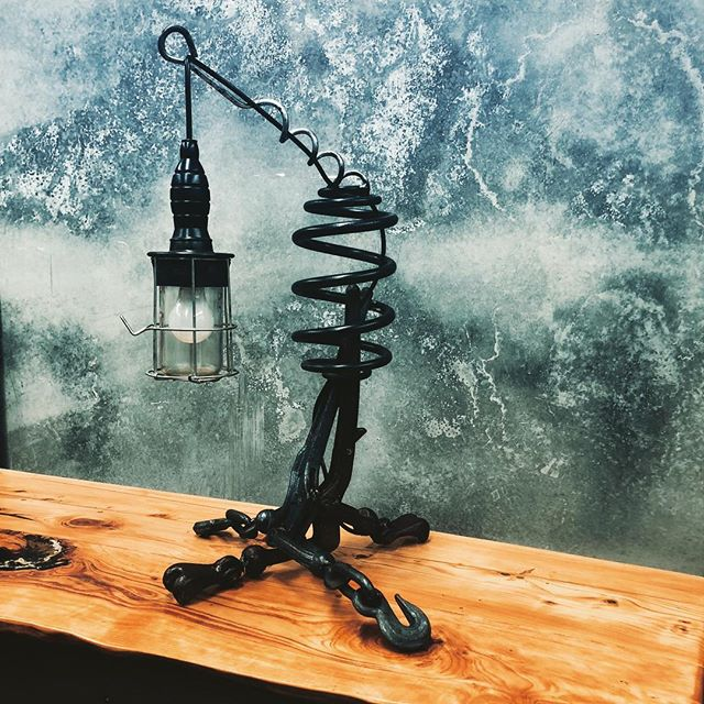 up cycled industrial lamp