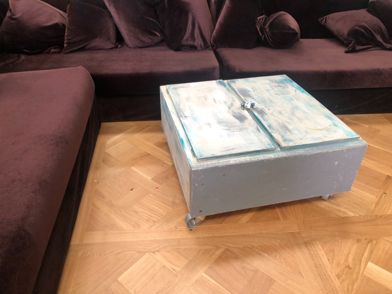 re purposed cabinet to coffee table