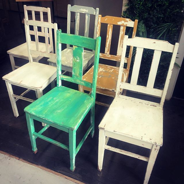 Rustic farmhouse chairs, made from hardw