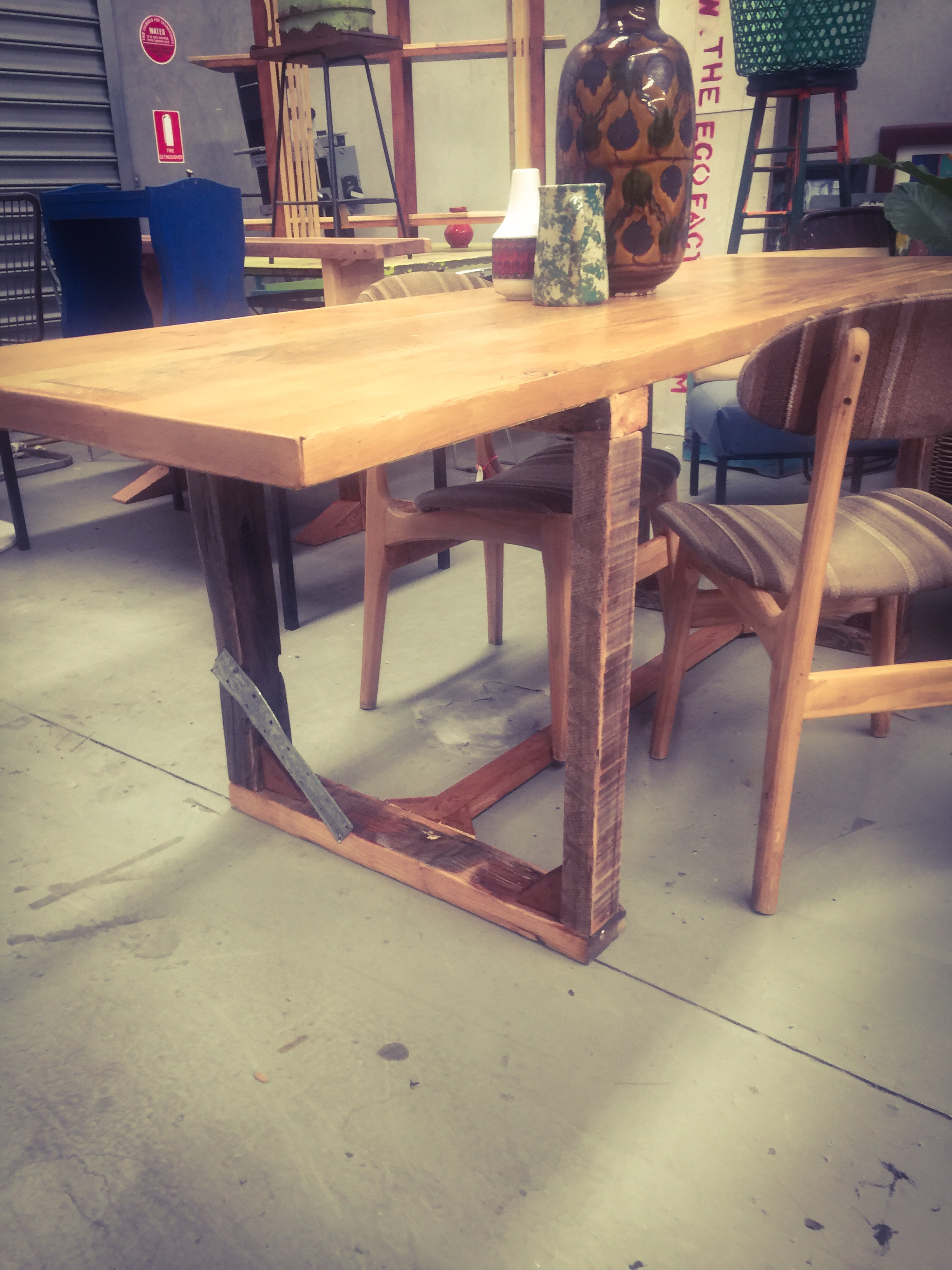 Industrial oak table