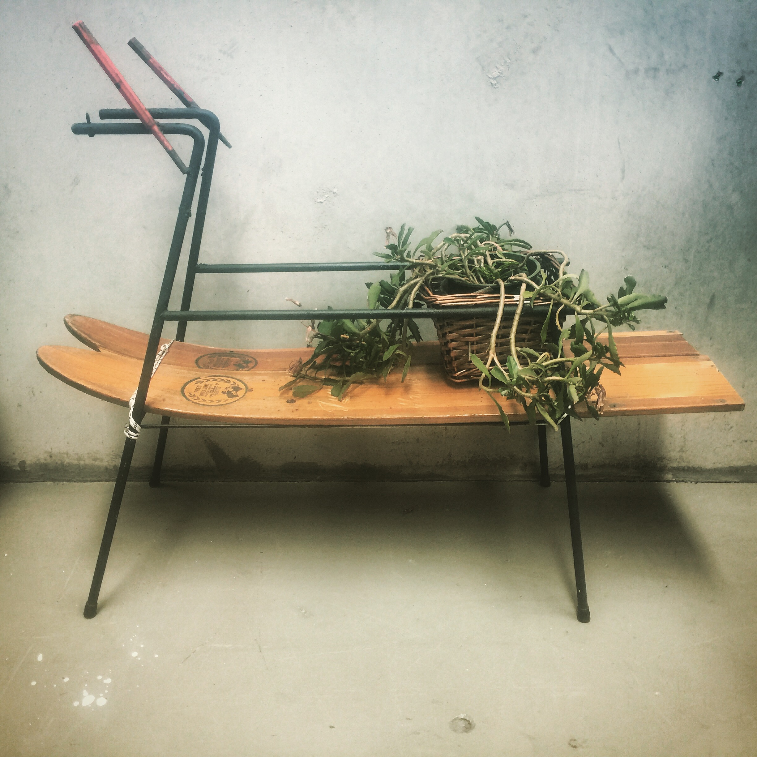 up cycled ski planter