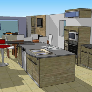 3D basic Aire ouverte contemporaine