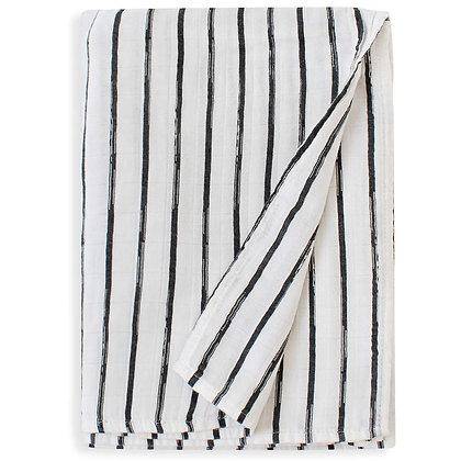 Black Pinstripe Swaddle Blanket