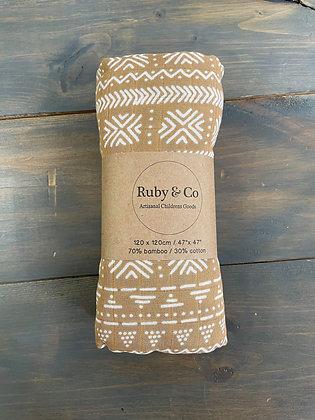 Boho Brown Swaddle Blanket