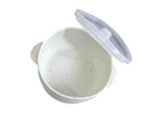 White Speckled Suction Bowl and Lid