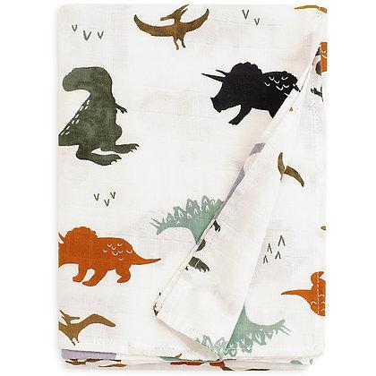 Vintage Dino Muslin Swaddle Blanket
