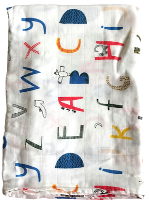 Colorful Alphabet Swaddle Blanket