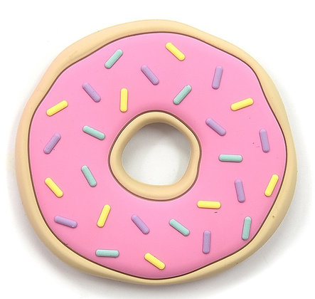 Pink Sprinkled Donut Silicone Teether