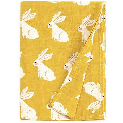 Mustard Rabbit Muslin Swaddle Blanket