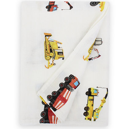 Muslin Swaddle Blanket - Trucks