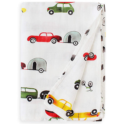Colorful Vehicles Swaddle Blanket