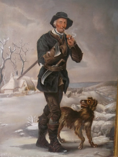 Forester and his dog in a wintery scene
