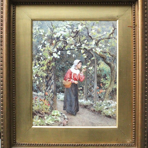 """Girl smelling the Roses"" by Harold Swanwick R.I."