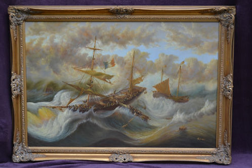 "French ship in stormy seas"" by T. Slowsky"