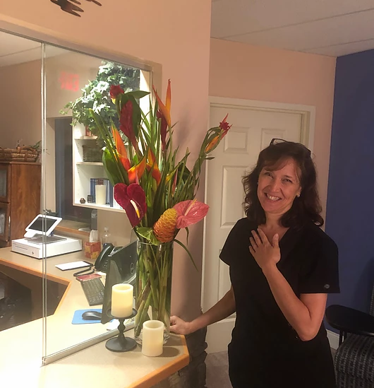 Our owner, Jennifer, in our lobby