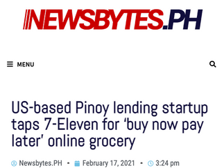"In the news: ""US-based Pinoy lending startup taps 7-Eleven for 'buy now pay later' online grocery"""
