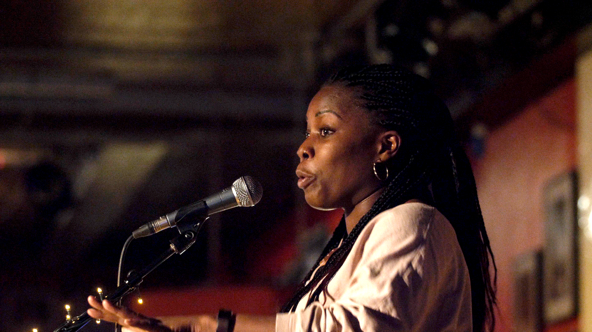 Spoken word artist Desree, performing at Club 100