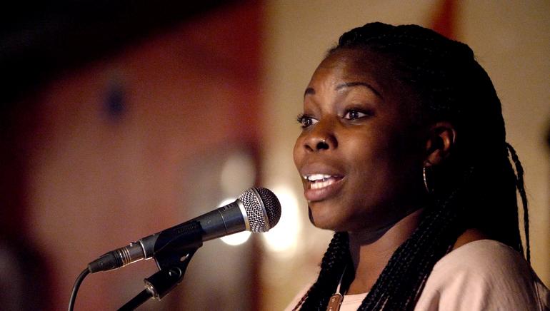 word artist Desree, performing at Club 100