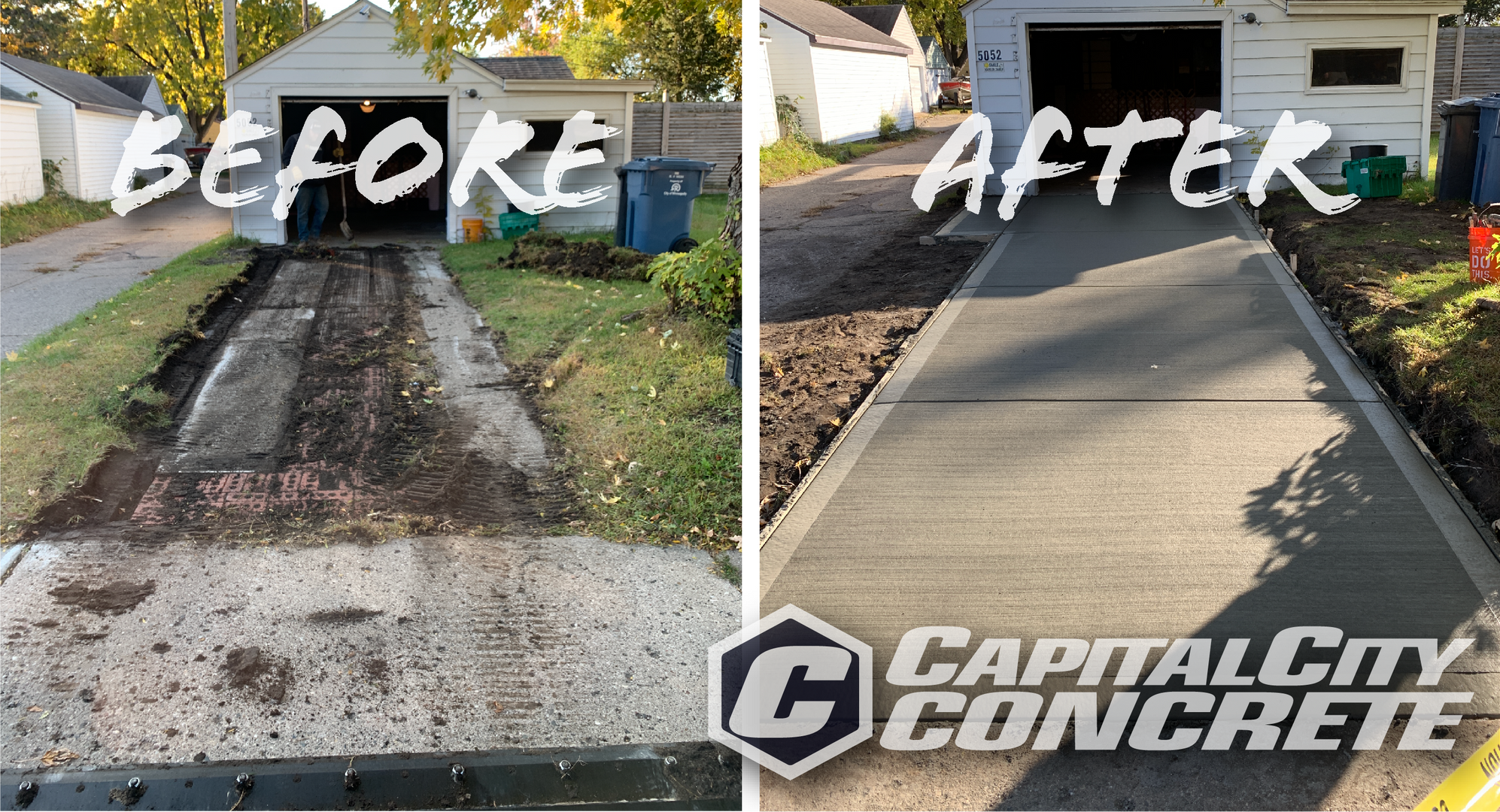 Before and After Broom Finish Driveway.p