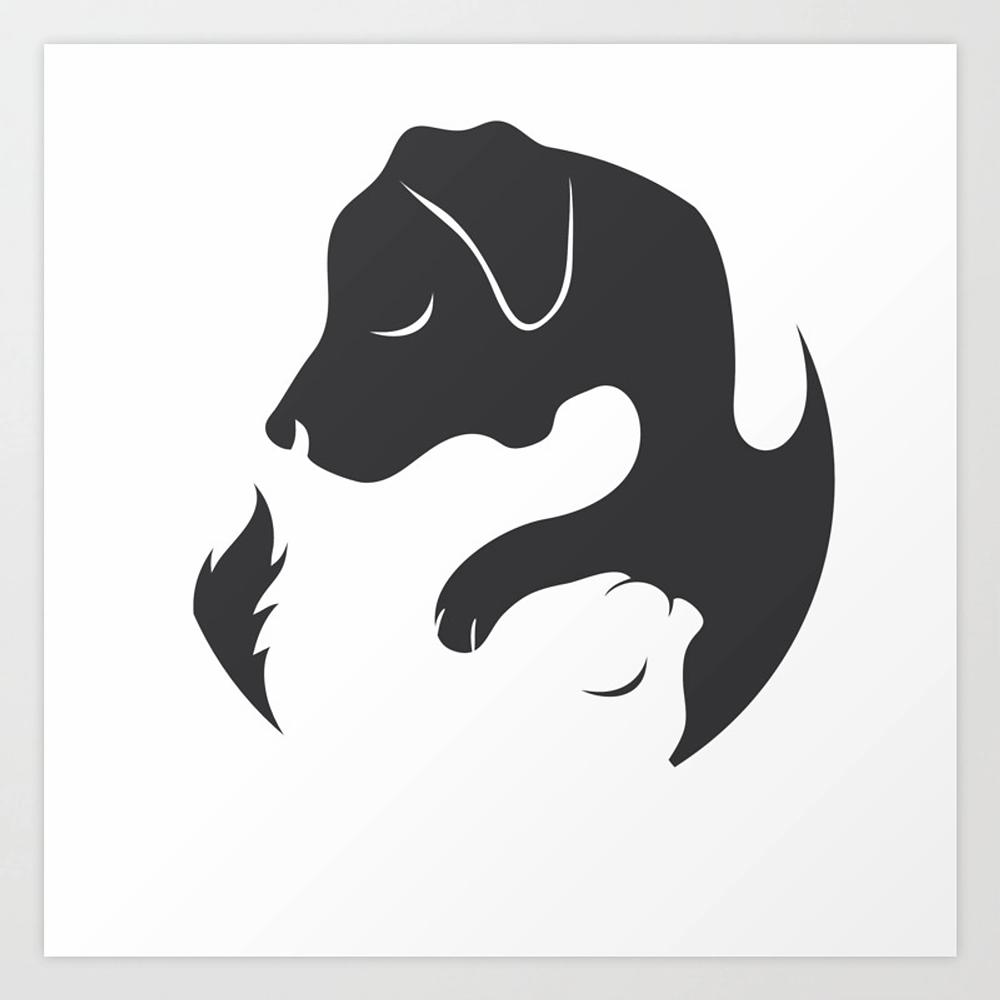 yin yang cat dog symbol for chi
