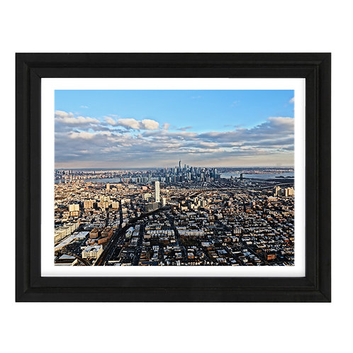 Photo de New York 11 Vue Hélico - A3 encadrée