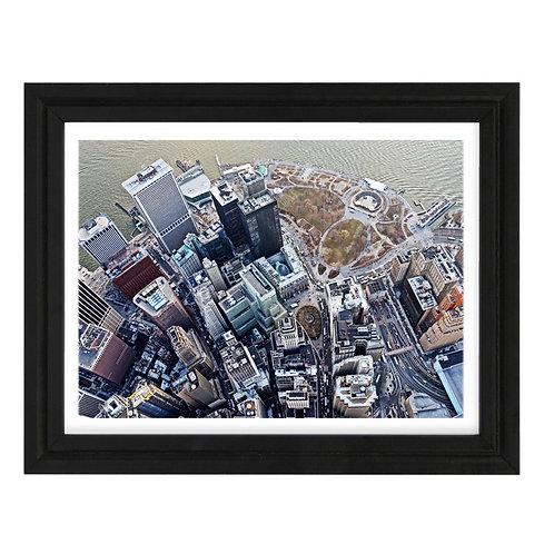 Photo de New York 12 Vue Hélico - A3 encadrée