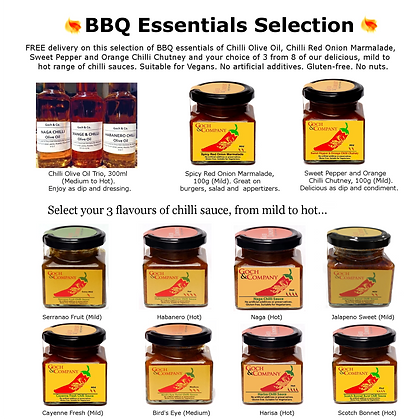 BBQ  Essentials - Chilli Oil, Chilli Sauce, Chutney, Marmalade - (Mild to Hot)