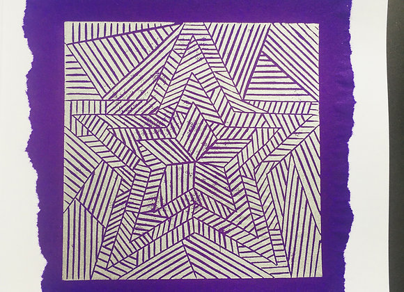 Handprinted linocut card in Silver and Purple 100% of profits to Black