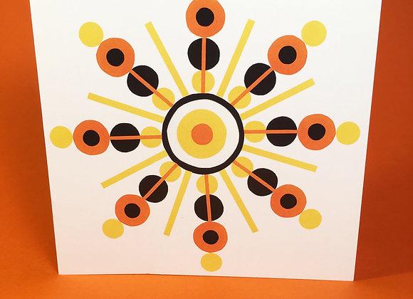 Orange 1 square greeting card