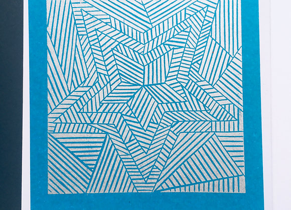 Handprinted linocut card in Silver and Blue 100% of profits to Black