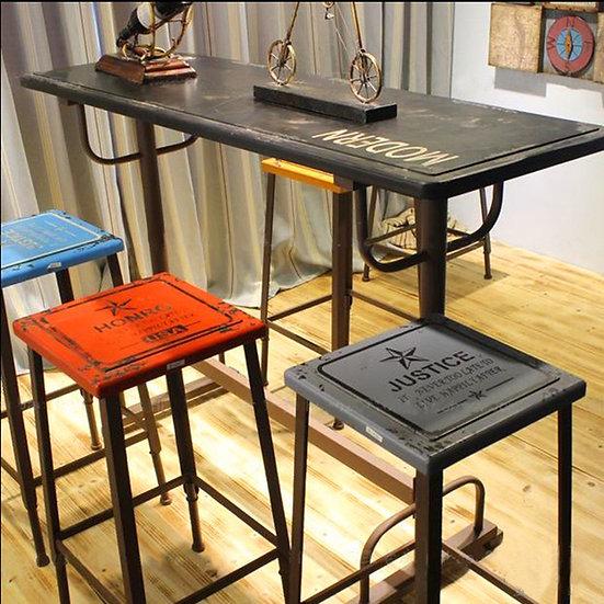 PFBT01- iron bar table & 4 Stools one set