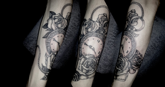 Classic Pocket Watch and Rose Design