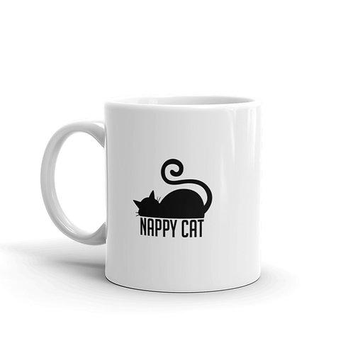 NAPPY CAT WHITE GLOSSY MUG