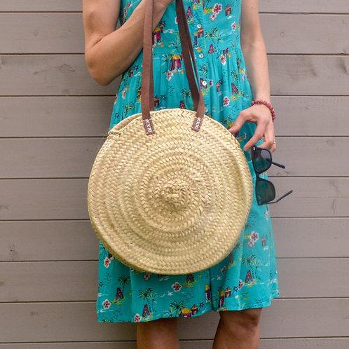 Round Straw Beach Basket