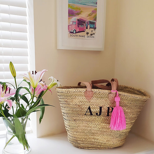 Large monogram basket, beach, market, shopping