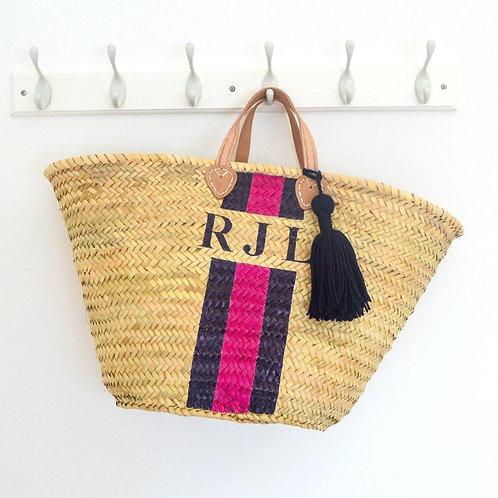 Stripe Monogram Large Straw Beach Basket