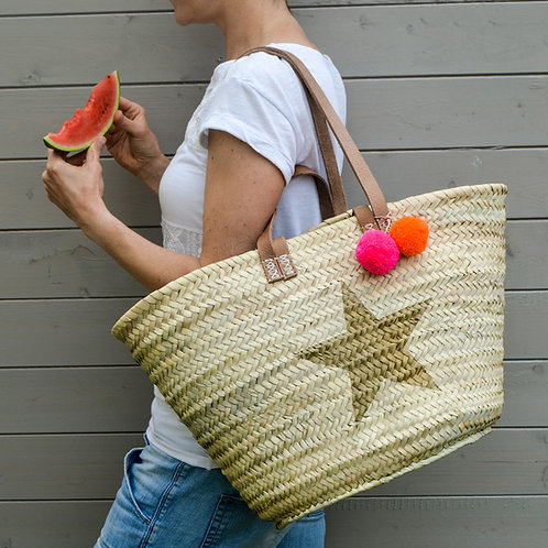 Large Straw Beach Basket with Star and Pom Poms