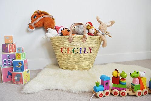 Personalised Toy Storage Straw Basket