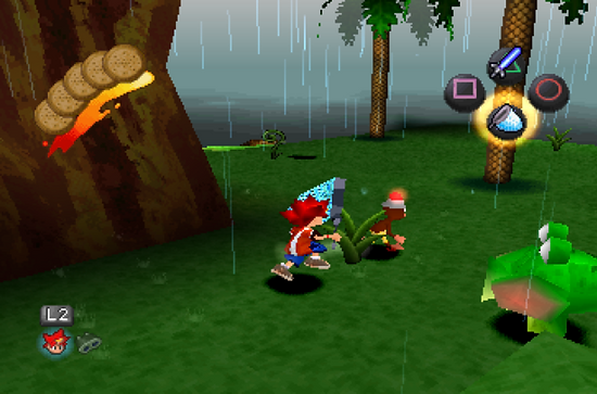 Player character, Spike, chasing a monkey with a net (image from retrogamer.net)