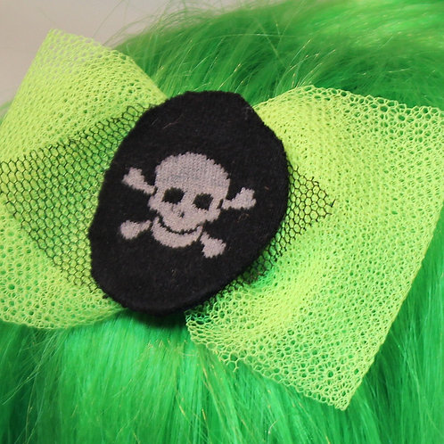 """""""Rock da N-G """" Haarspangen, Neon gelbe Tüllschleife mit triquo totenkopf , mit fester schw.Haarklammer"""