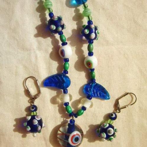 mundgeblasene Glasperlen, eigener design, blau/weiss/rot/grün, Auge des Glücks, Glückskette, 3er Set mit Ohrringen